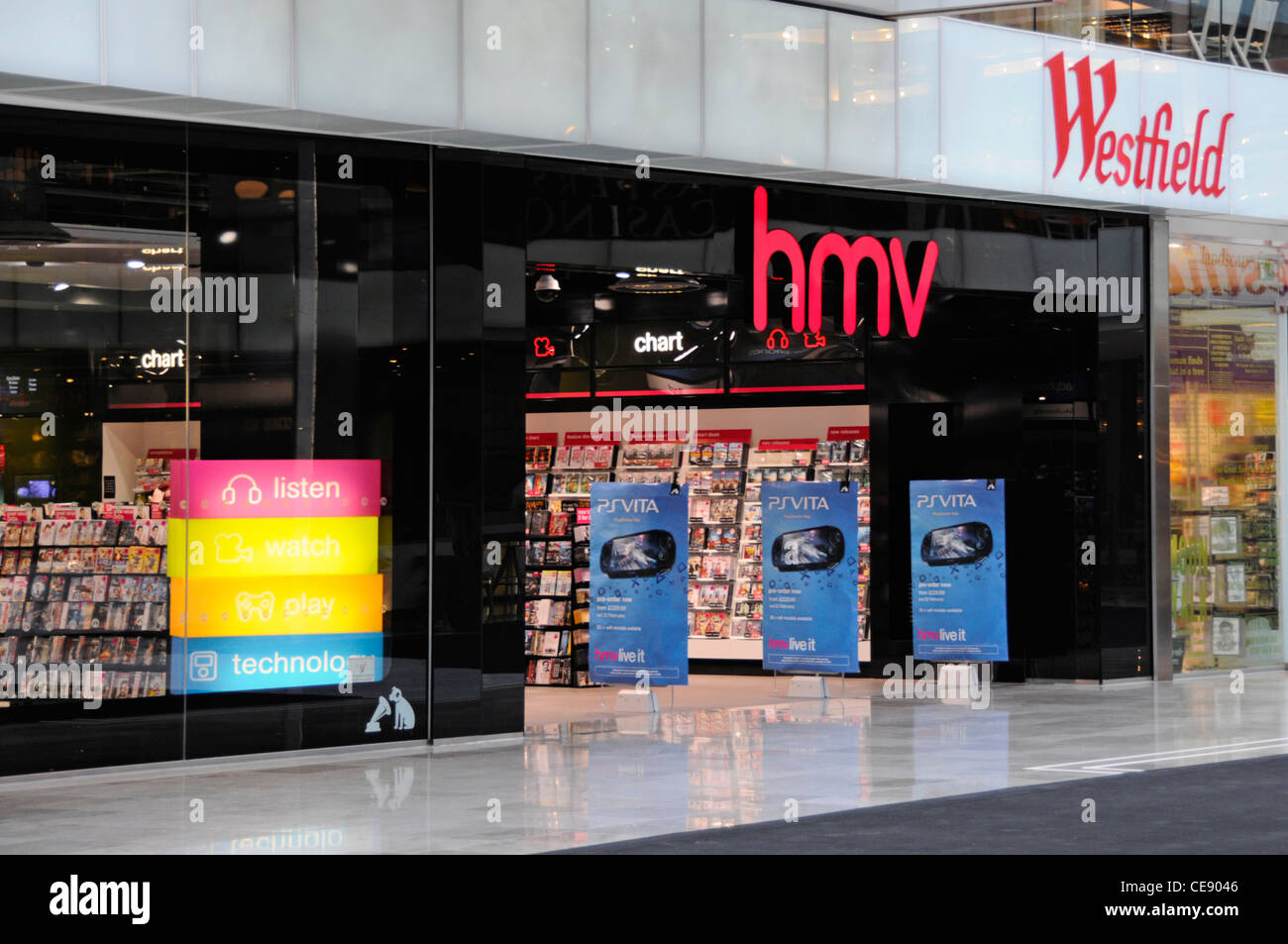 HMV UK music retail store shop front & entrance in Westfield indoor shopping mall Stratford City Newham East - Stock Image