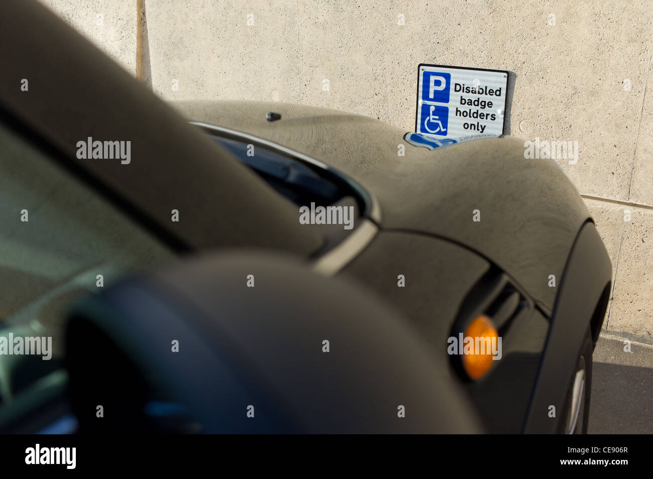Disabled Blue Badge Holders parking sign at the Spa Bridlington, seaside holiday resort, UK - Stock Image