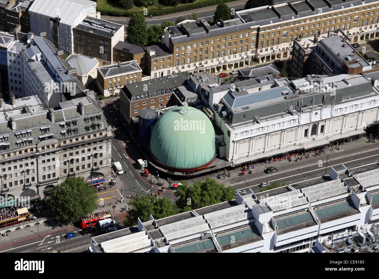 Aerial image Madame Tussauds and the former London Planetarium, Marylebone Road, London NW1 - Stock Image