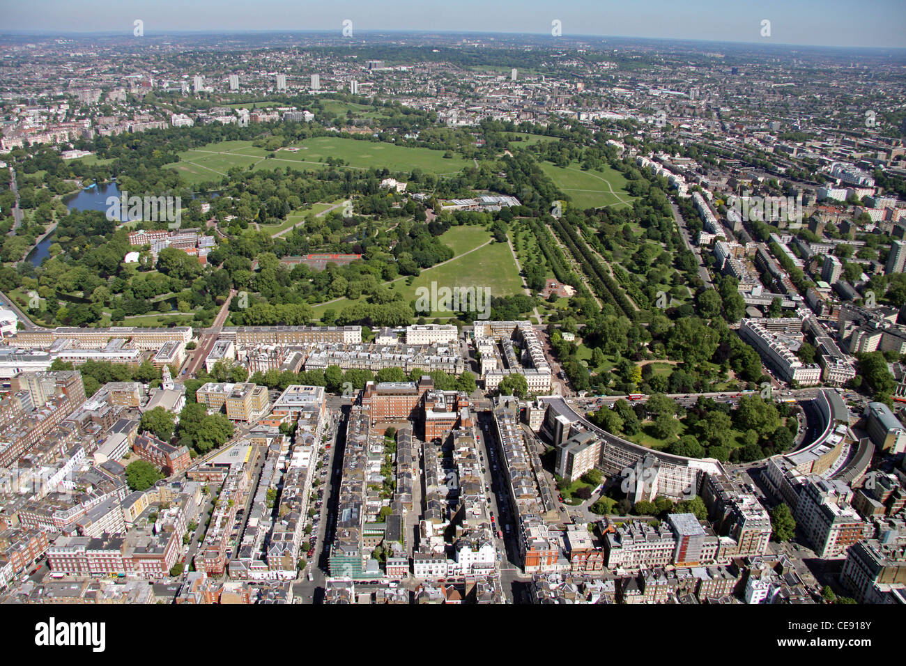 Aerial image of Regents Park, London NW1 Stock Photo