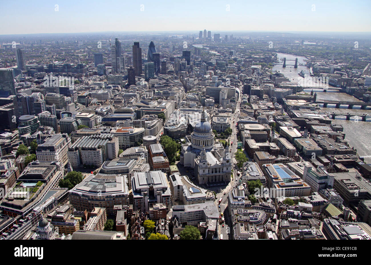 Aerial image of St Paul's Cathedral looking east to the City of London Stock Photo