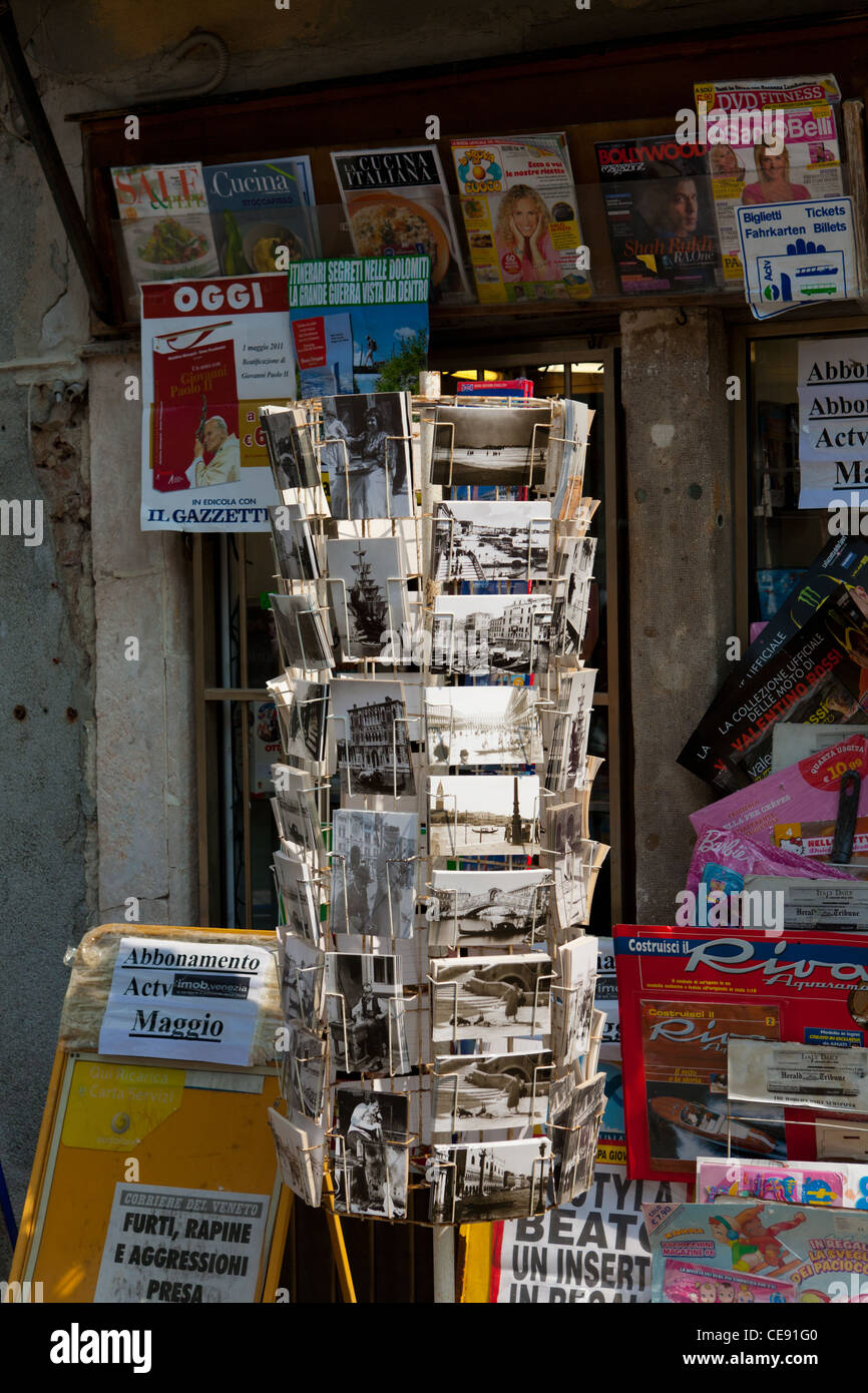 postcard Rack, Venice, Italy Stock Photo