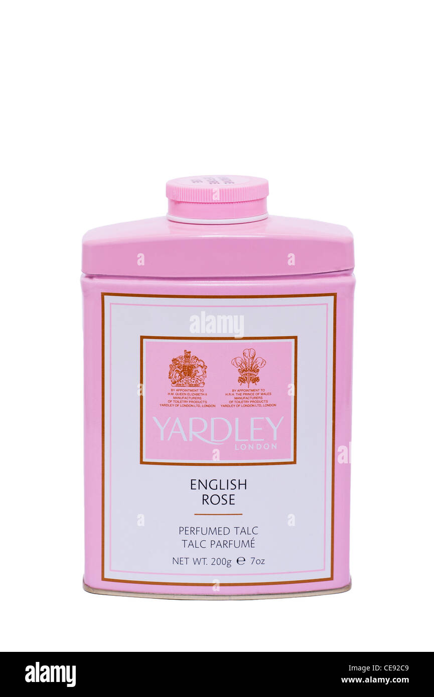 A tin of Yardley English Rose Perfumed Talc talcum powder on a white background - Stock Image