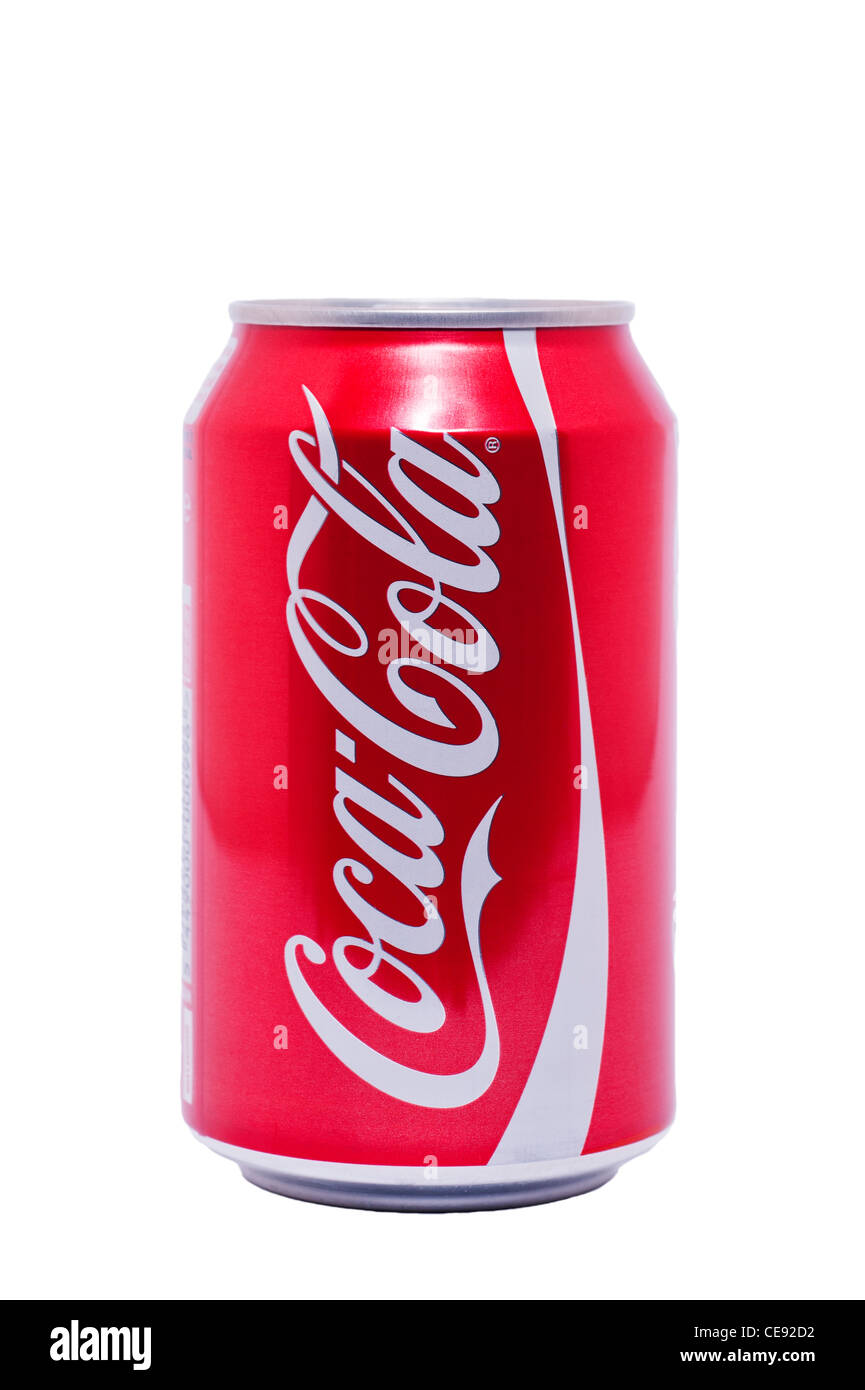 A can of original Coca Cola ( Coke ) on a white background - Stock Image