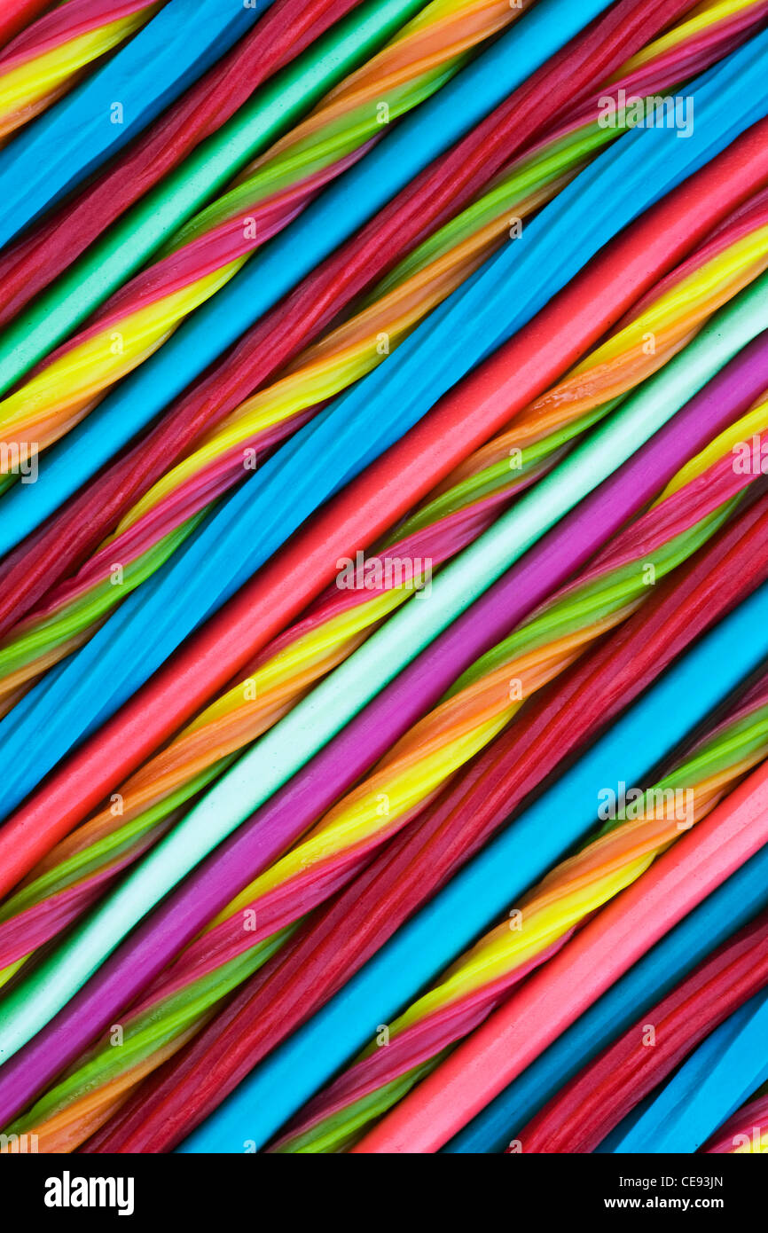 Striped Candy Pattern. Pencils, whips and twists. - Stock Image