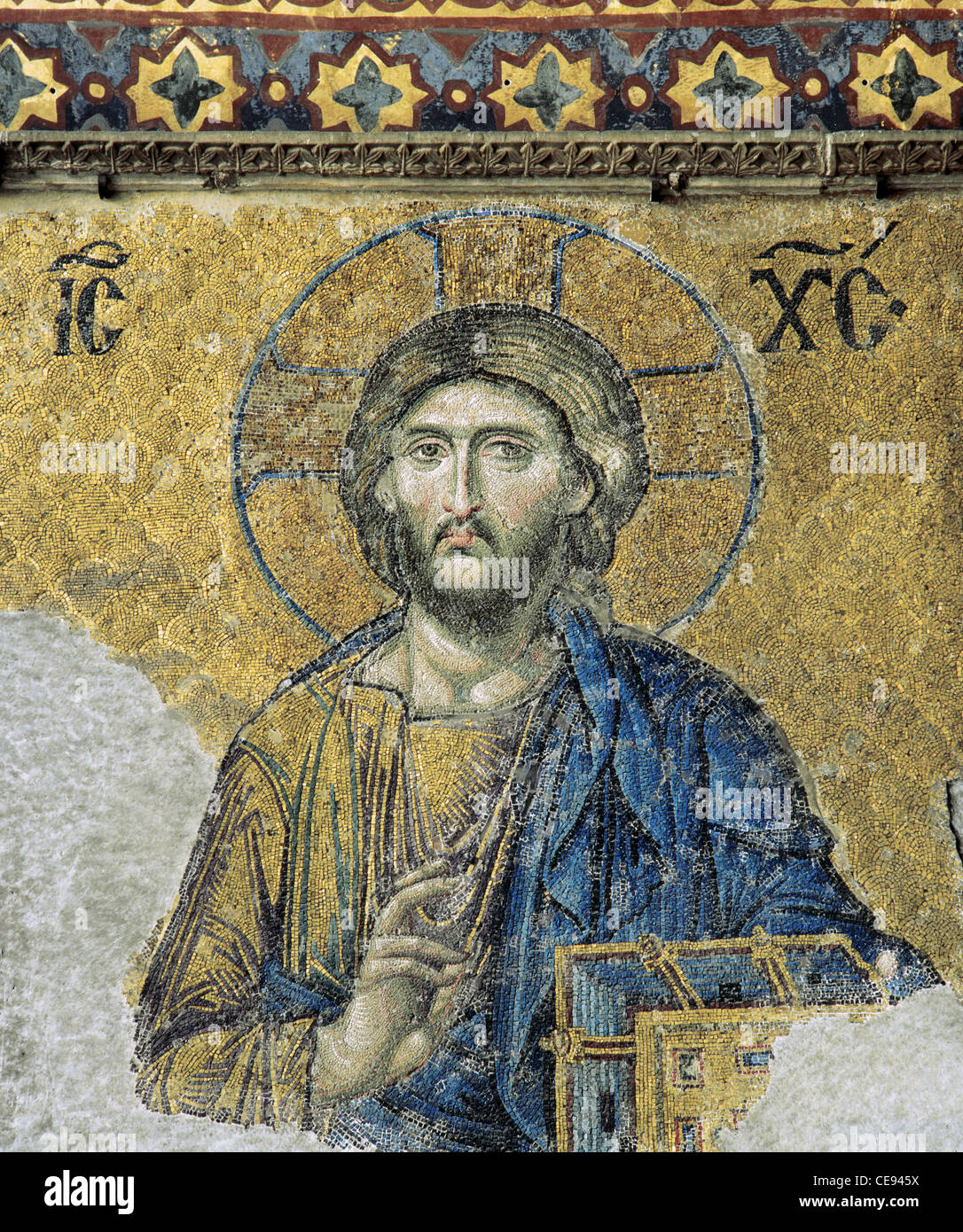 The Deesis. Detail. Jesus Christ in Majesty as if to bless. 13th century. Mosaic. Hagia Sophia. Istanbul. Turkey. - Stock Image
