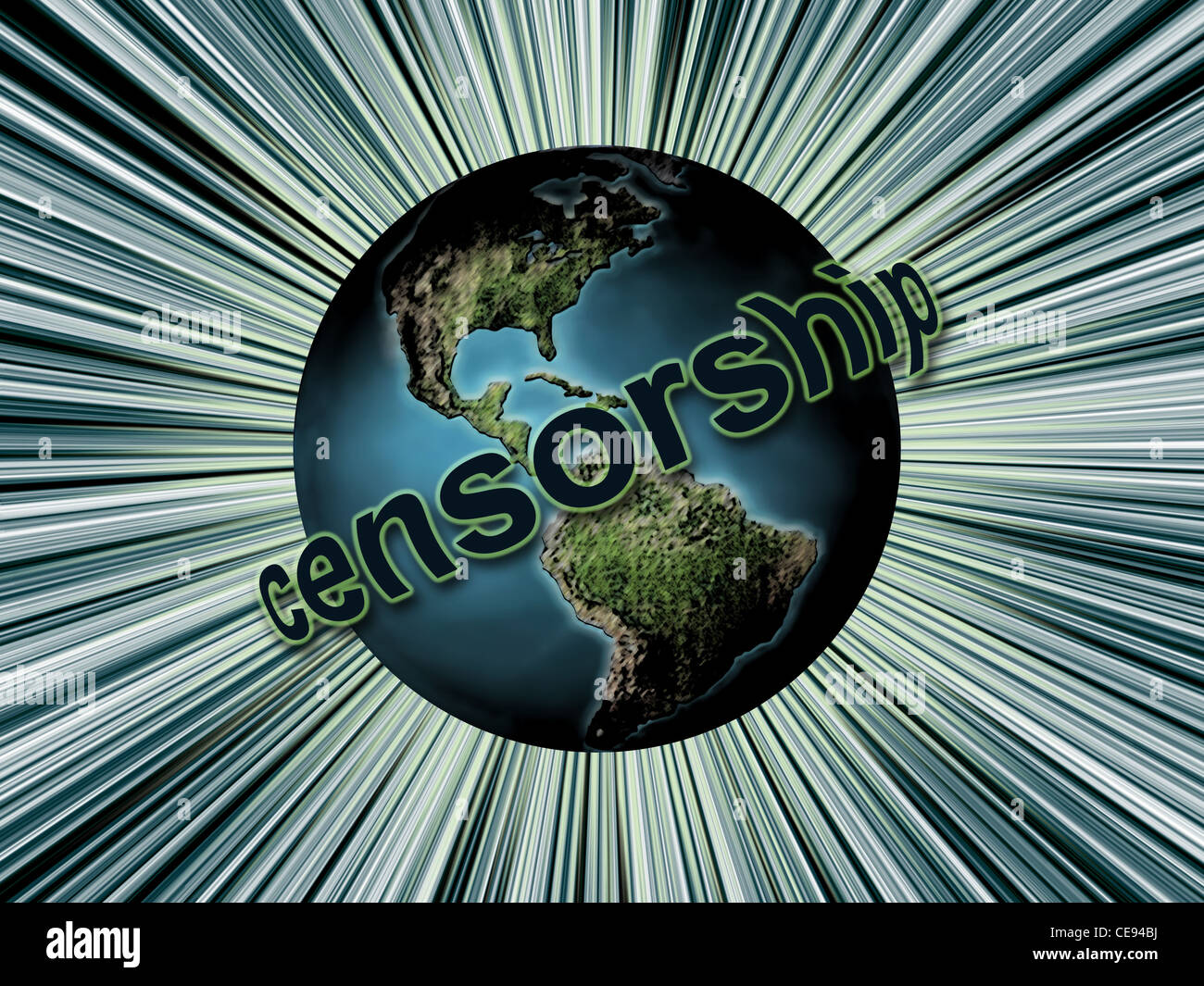 Planet Earth surrounded by Censorship word as Global Censorship concept - Stock Image