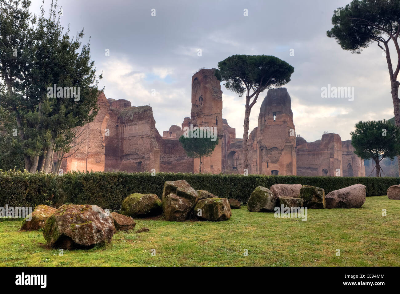 The Caracalla baths are ruins of an ancient bath facility in Rome with an upstream park - Stock Image