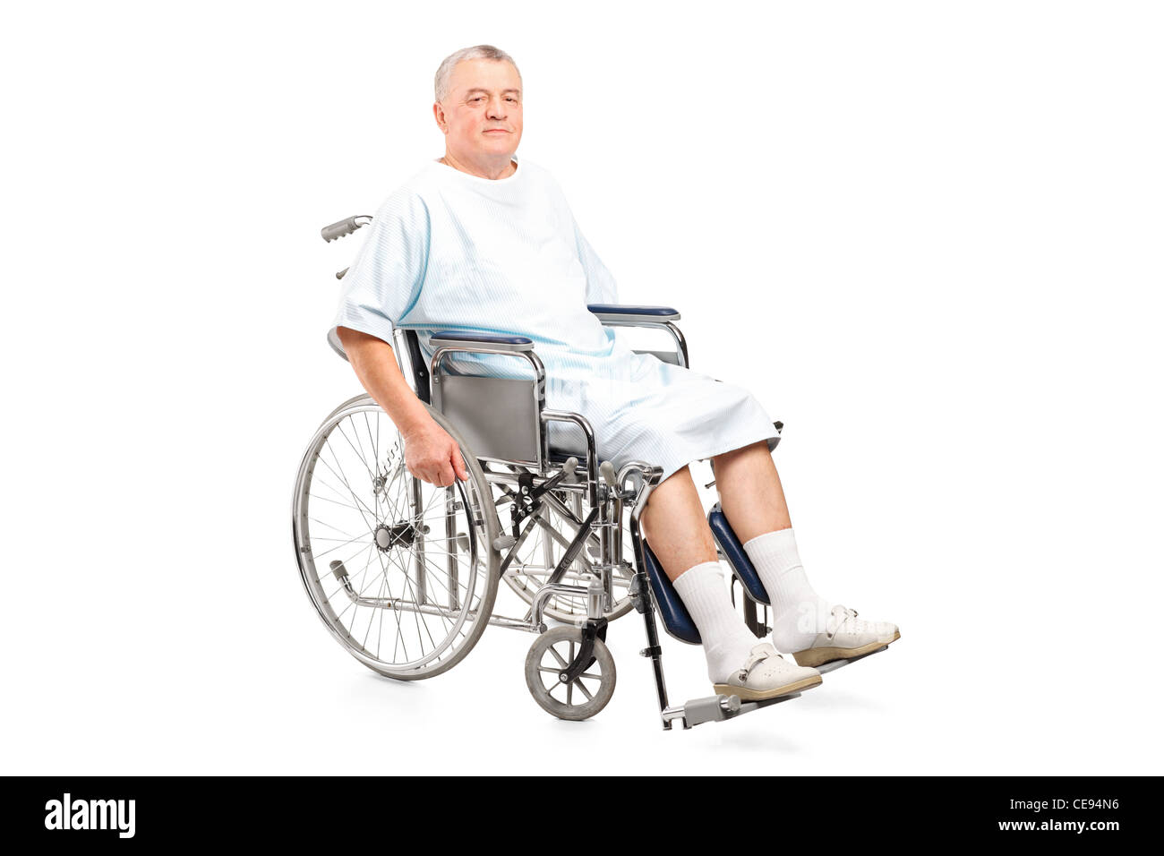 Male patient in a wheelchair - Stock Image