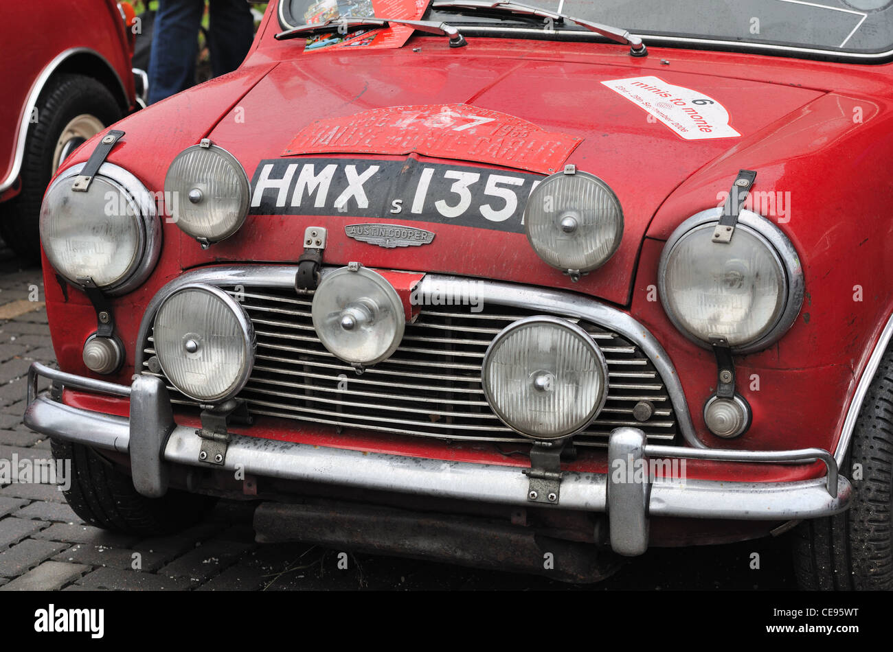 Austin Mini Cooper car at the Monte Carlo Rallye starting point in Clydebank, Scotland, UK - Stock Image