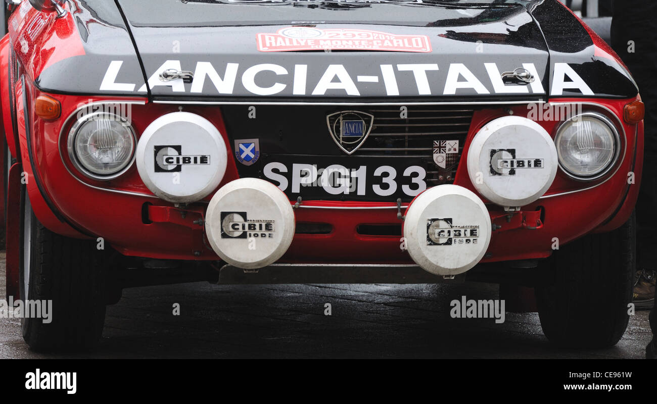 Classic Lancia rally car at the Monte Carlo Rally starting point in Clydebank, UK - Stock Image