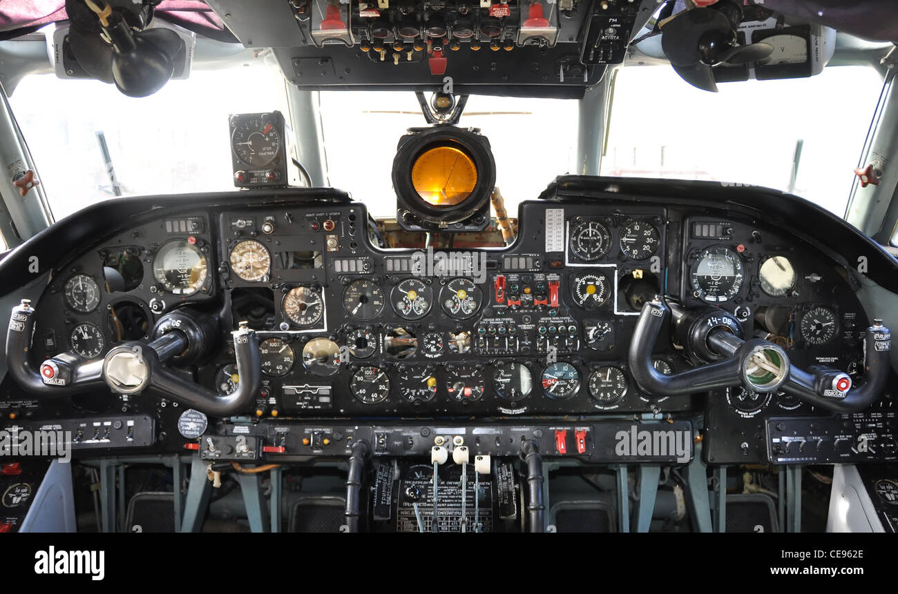 old airplane cockpit, russian - Stock Image