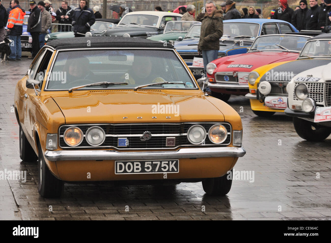 Monte Carlo rallye competitor in a Mk 3 Ford Cortina on display at Clydebank, Glasgow, Scotland, UK - Stock Image