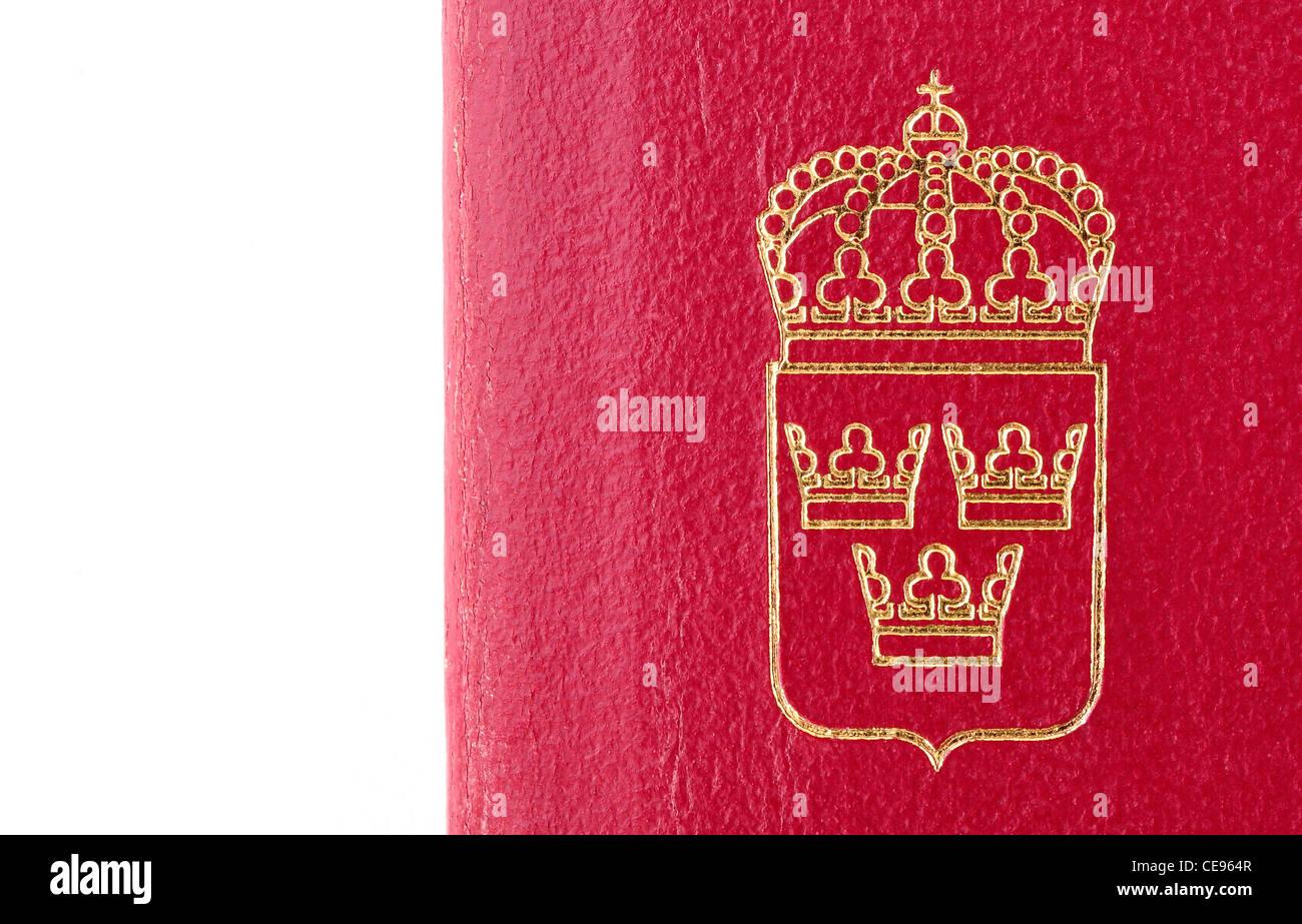 small emblem, crest of Sweden, on burgundy background - Stock Image