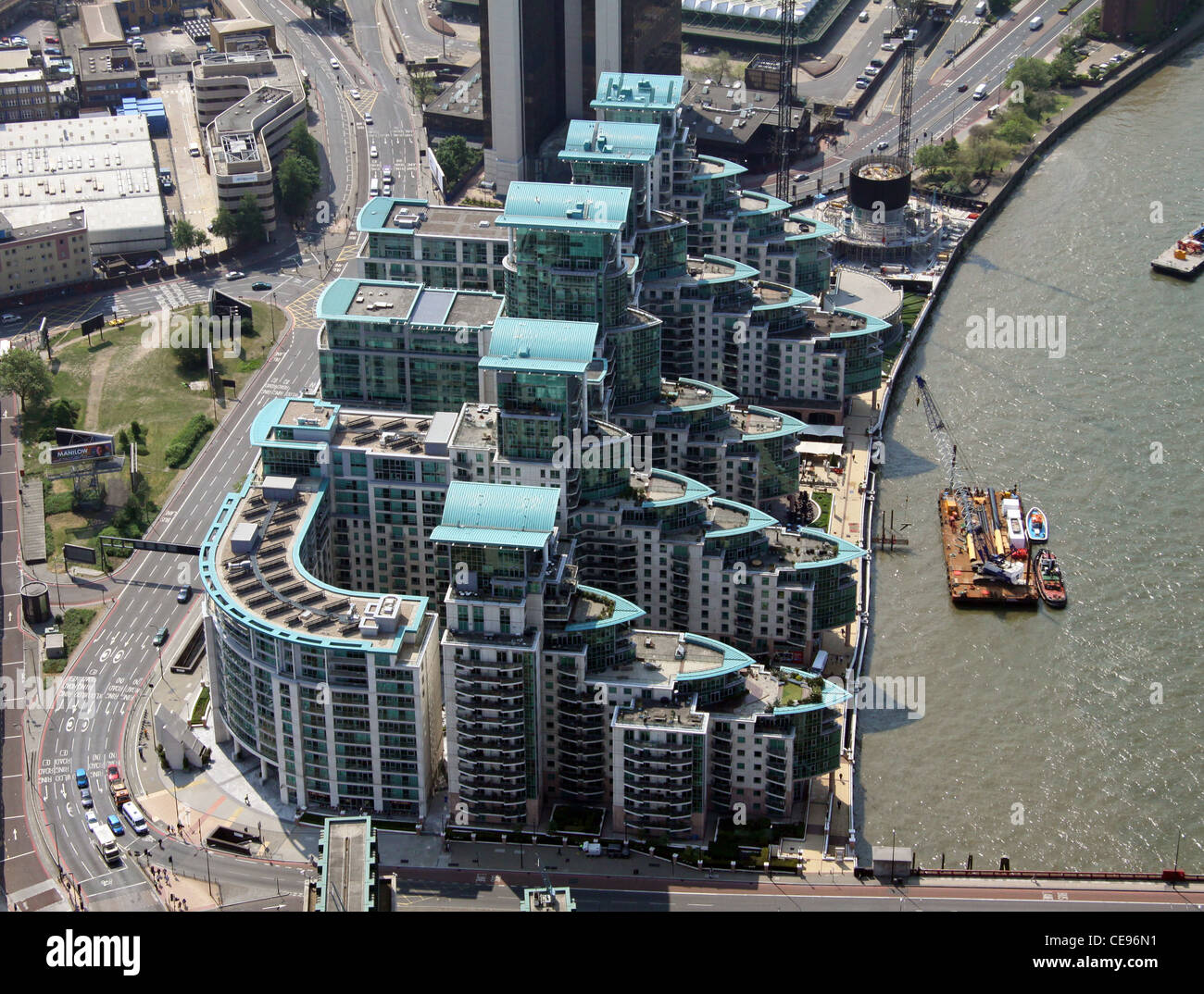 Aerial image of apartments at Vauxhall Cross, London SE11 - Stock Image
