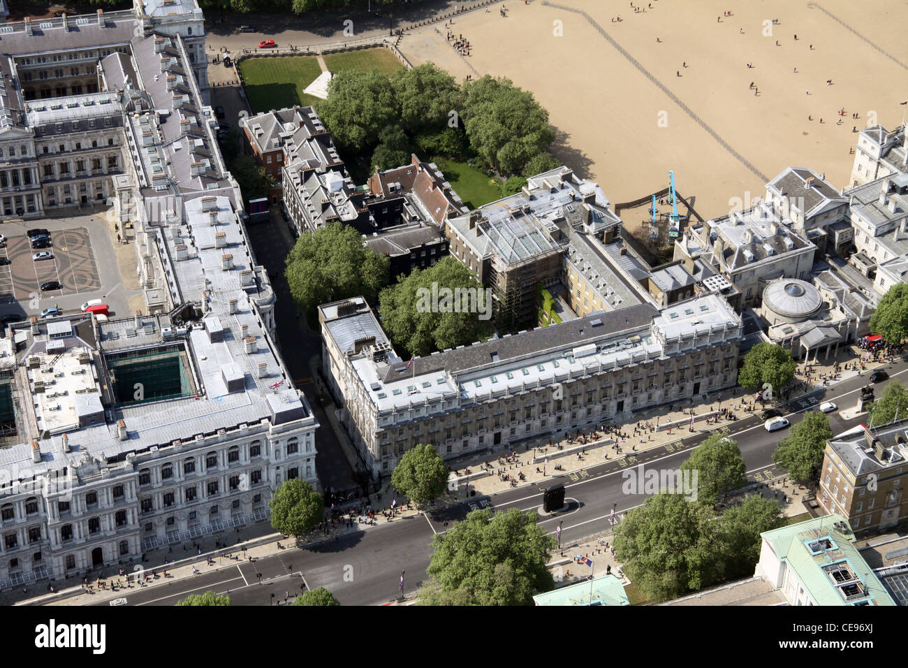 Aerial image, Downing Street, Whitehall, London SW1 - Stock Image