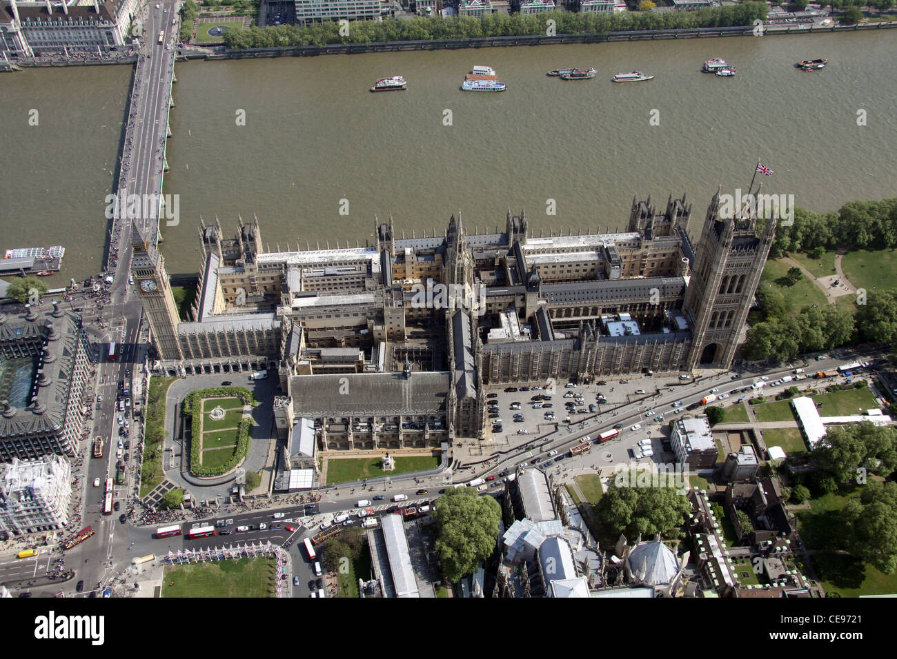 Aerial image of The Houses of Parliament, London SW1 - Stock Image