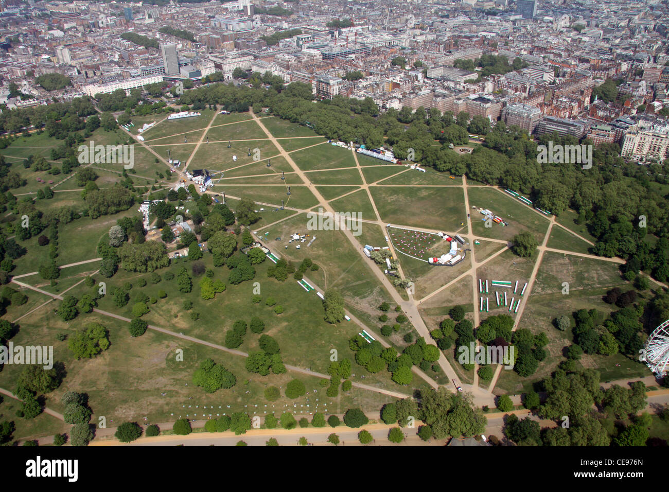 Aerial image of Hyde Park, London W2 - Stock Image