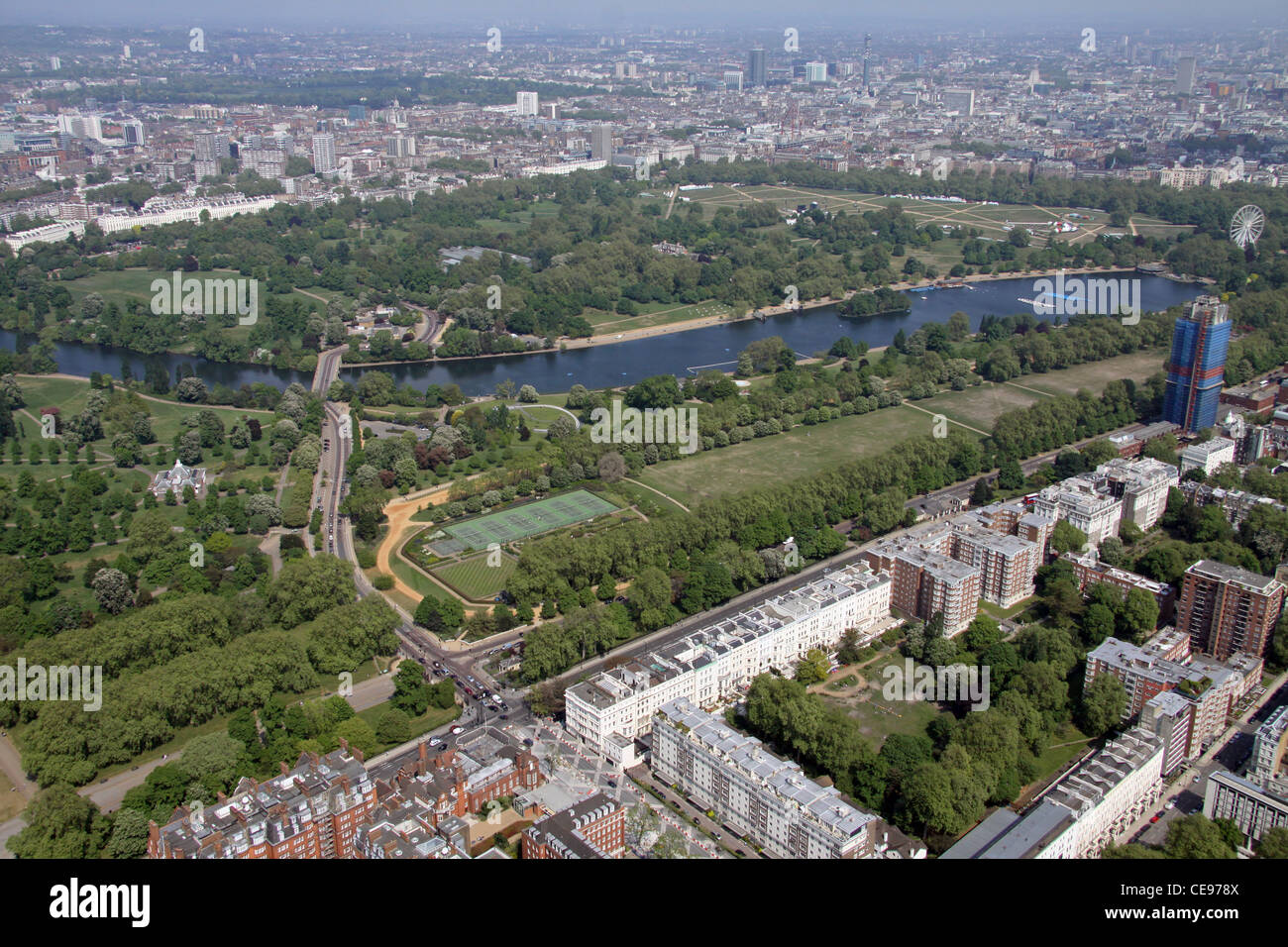 Aerial image of Hyde Park, London - Stock Image