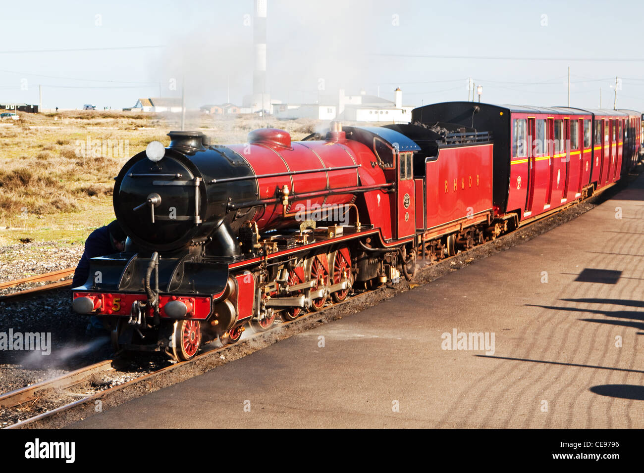 Hercules Engine on the Romney Hythe & Dymchurch Line at Dungeness Stock Photo