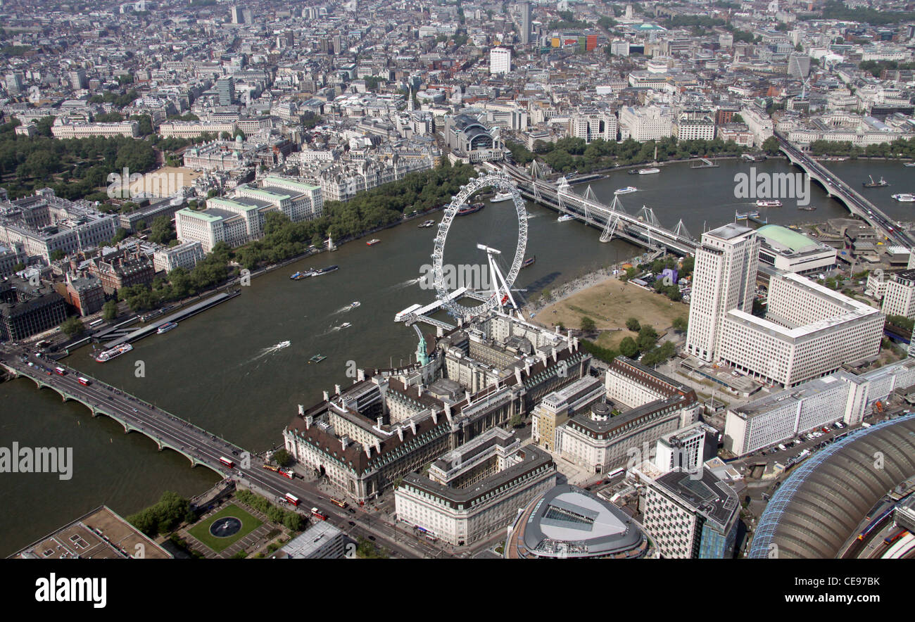 Aerial image of the London Eye and County Hall, South Bank of Thames , London SE11 - Stock Image
