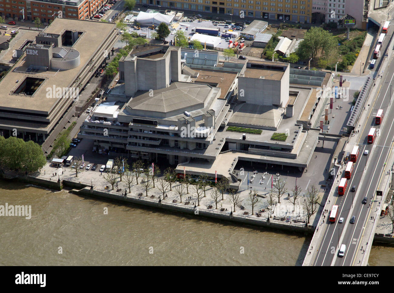 Aerial image of The National Theatre, south bank of the Thames, London SE1 - Stock Image