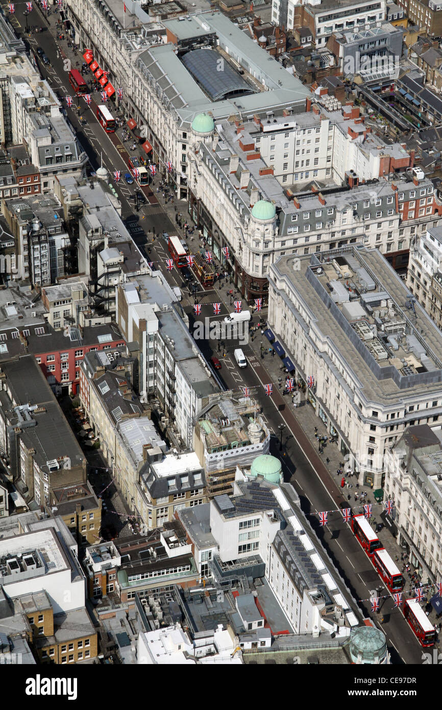 Aerial image, view from the air, Oxford Street, London W1 - Stock Image