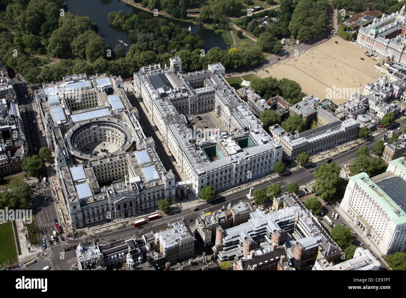 Aerial image, Parliament Street, Whitehall, London SW1 - Stock Image