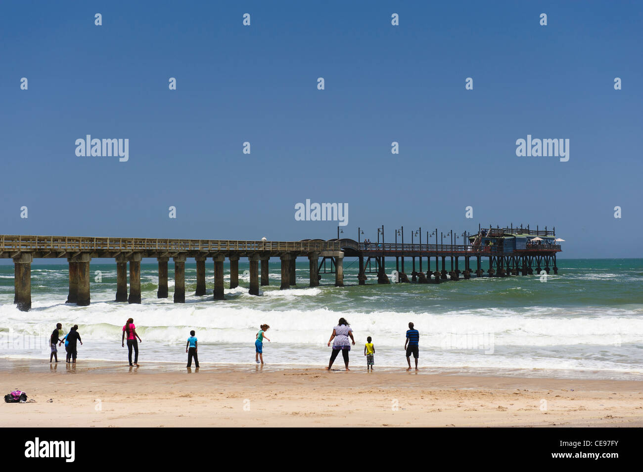 The beach of Swakopmund in front of 'the jetty'. Namibia - Stock Image