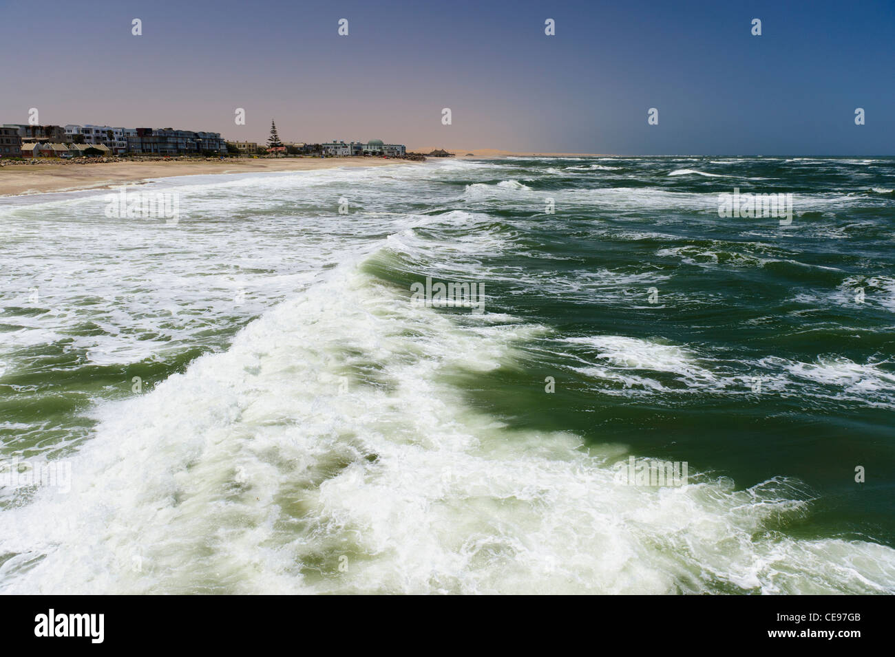 The coast of Swakopmund seen from 'the jetty'. Namibia - Stock Image