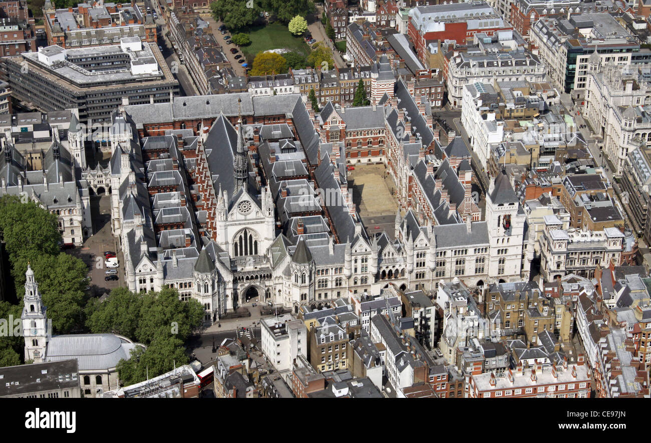 Aerial image of the Royal Courts of Justice, Aldwych, London WC2 - Stock Image