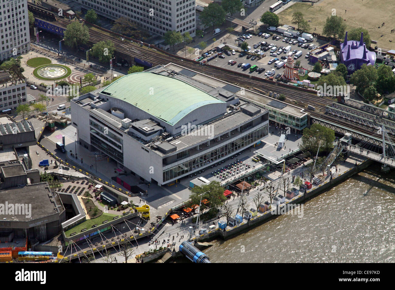 Aerial photograph of The Royal Festival, South Bank, London - Stock Image