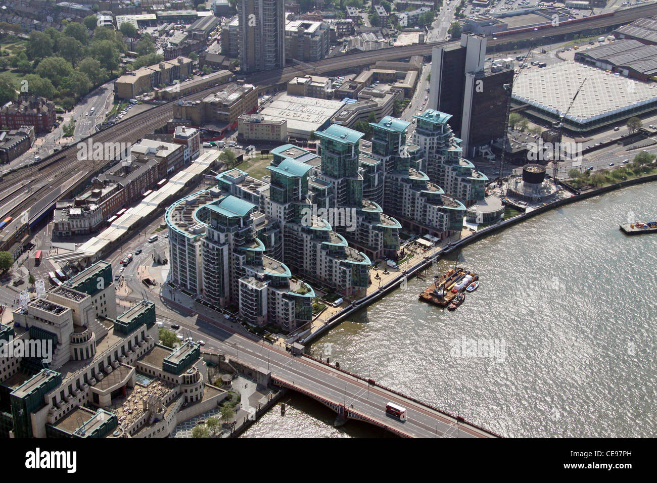 Aerial image of apartments at Vauxhall Cross, South bank of the Thames, London - Stock Image