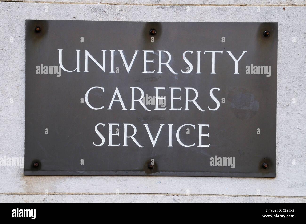 University Careers Service sign, Mill Lane, Cambridge, England, UK Stock Photo