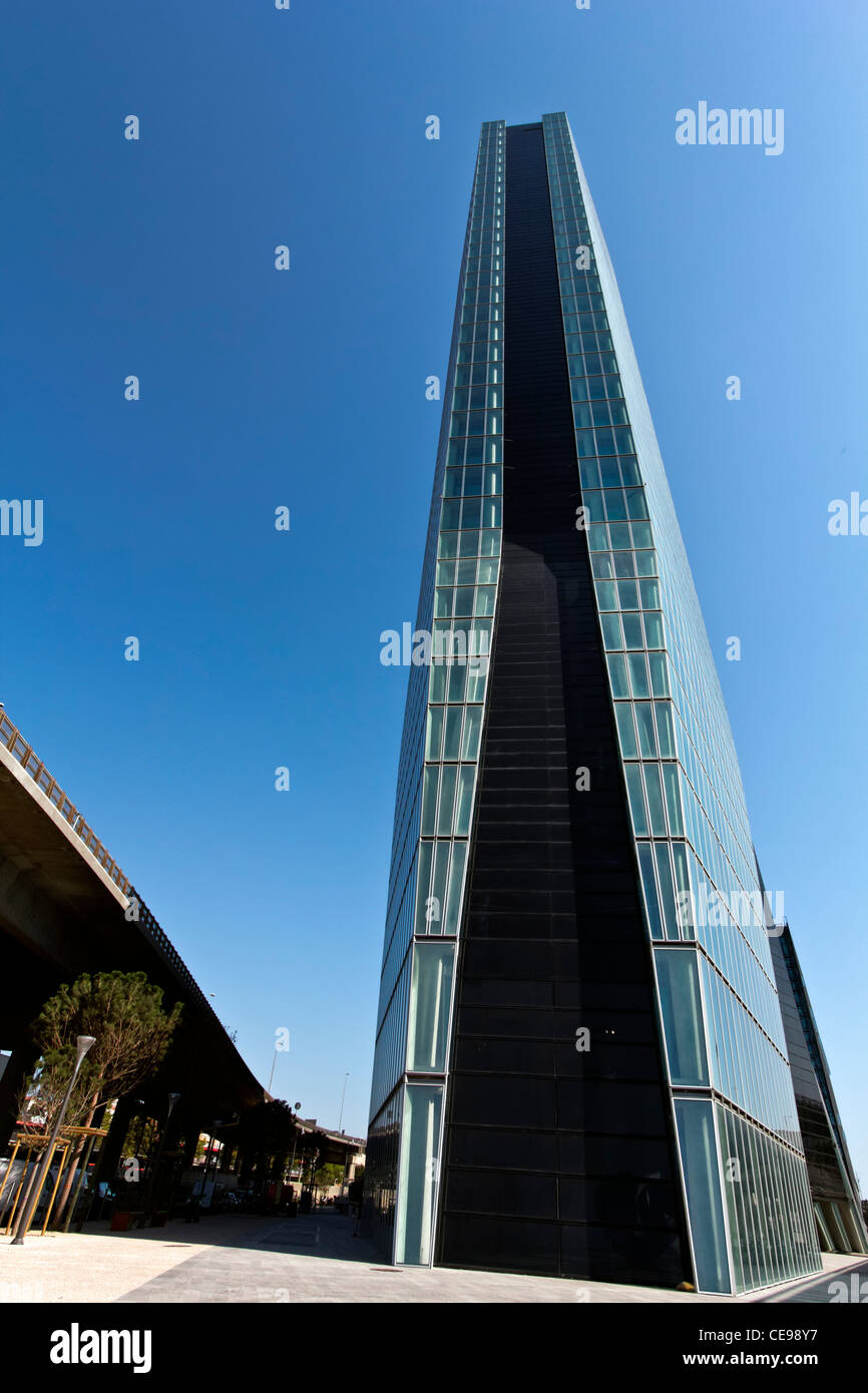 The CMA CGM Tower is a 147m tall skyscraper in Euroméditerranée, the central business district of Marseille, - Stock Image