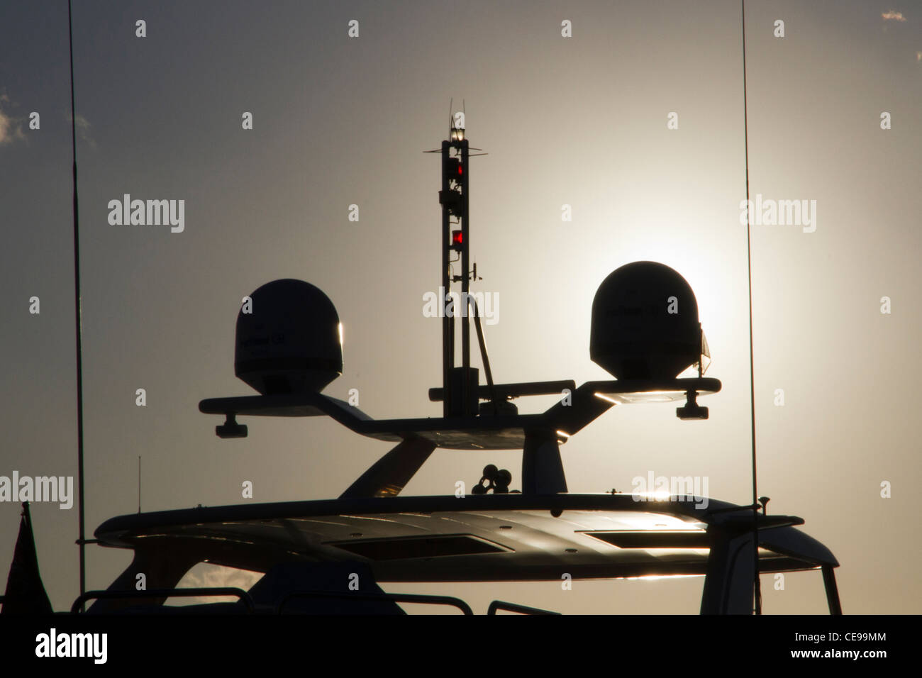 radar and safety equipment equipments for navigation mounted aboard on luxury yacht motorboat - Stock Image