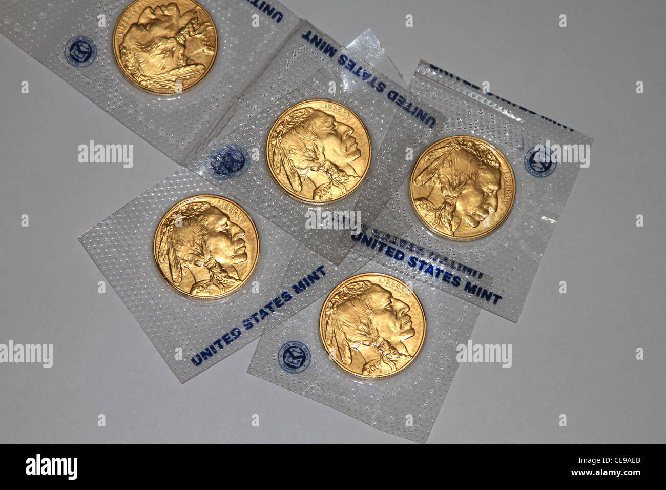 US Bullion Coin American Buffalo 1 oz Gold Coins. This was the first time ever that the United States Government - Stock Image