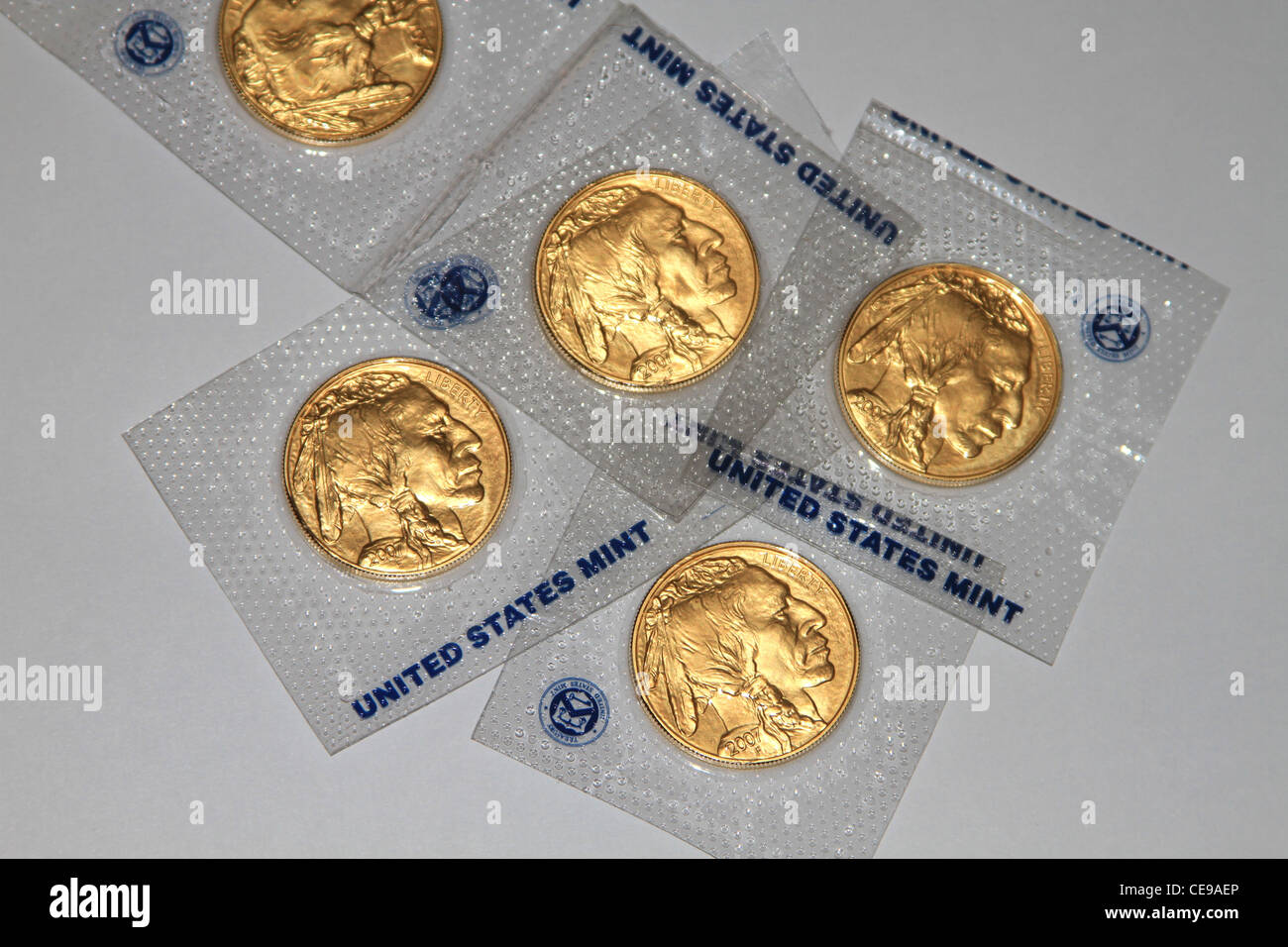 Gold Coin 24 Karat Buffalo Eagle from the United States Mint. Price of gold going up dramatically. - Stock Image