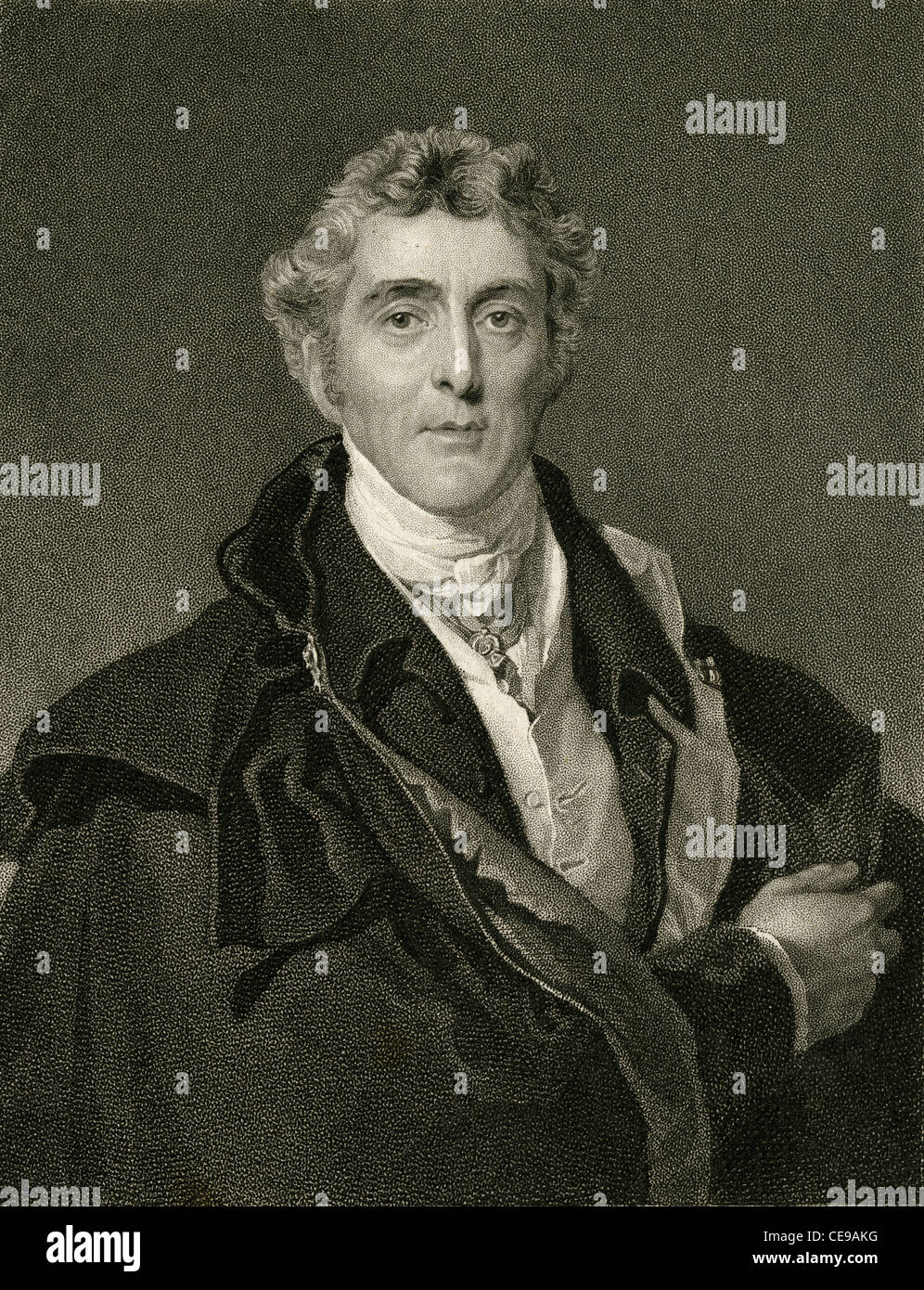 1830 engraving of Arthur Wellesley, 1st Duke of Wellington. - Stock Image