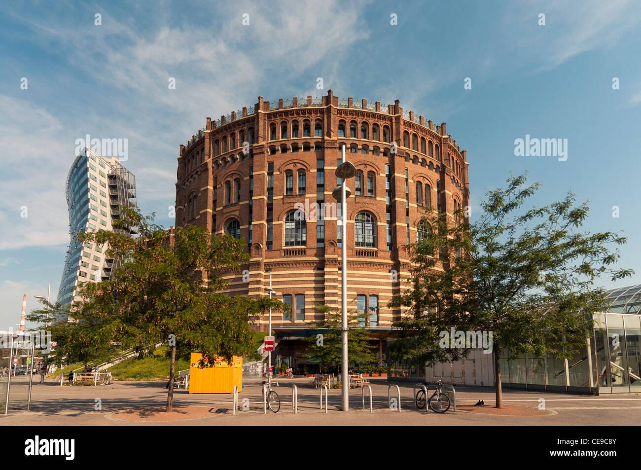 Gasometer Building with Annex, Simmering, Vienna (Wien), Austria - Stock Image