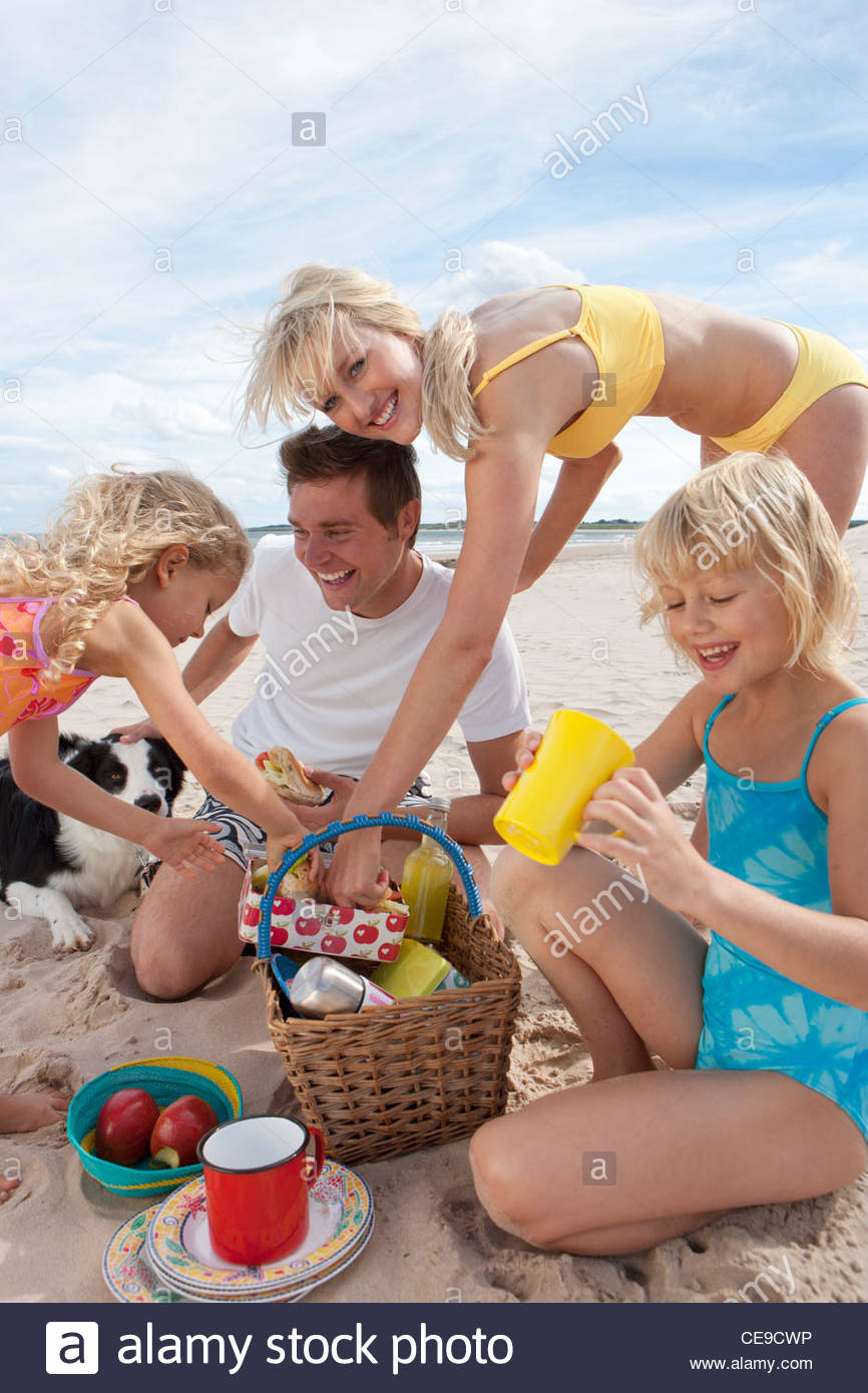 Family with dog picnicking on sunny beach Stock Photo
