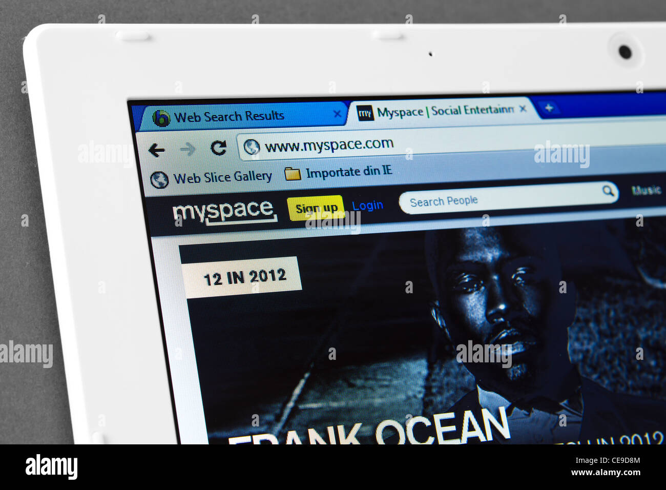 MySpace web page on the browser - Stock Image