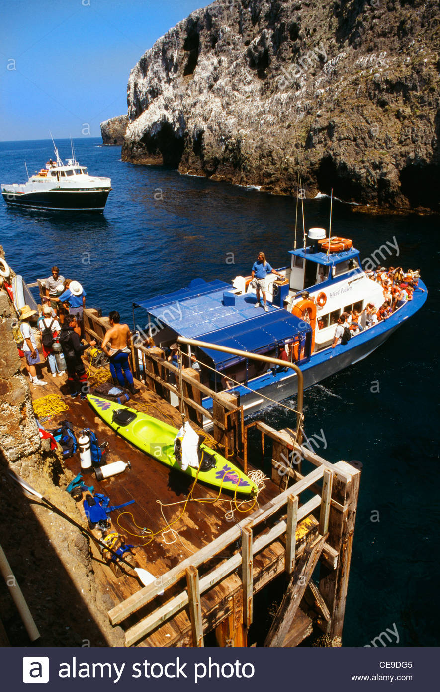Landing Cove Anacapa Island: Landing Cove, With Boats [loading And Unloading Passengers