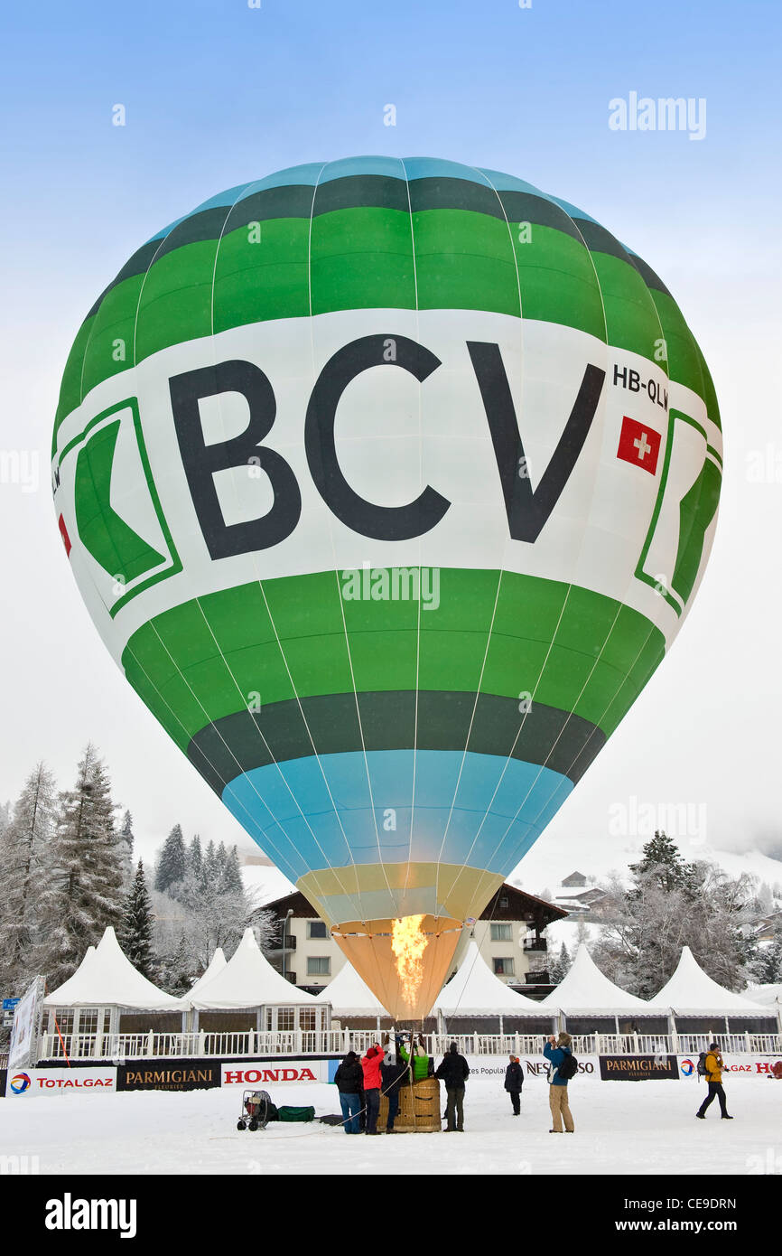 Balloons International Festival, Chateau d'Oex, Switzerland Stock Photo