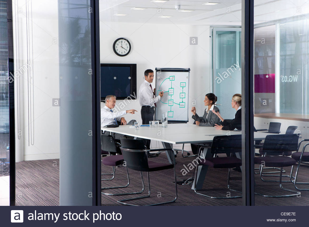 Business People Discussing Flow Chart On Whiteboard In Conference - Whiteboard conference table