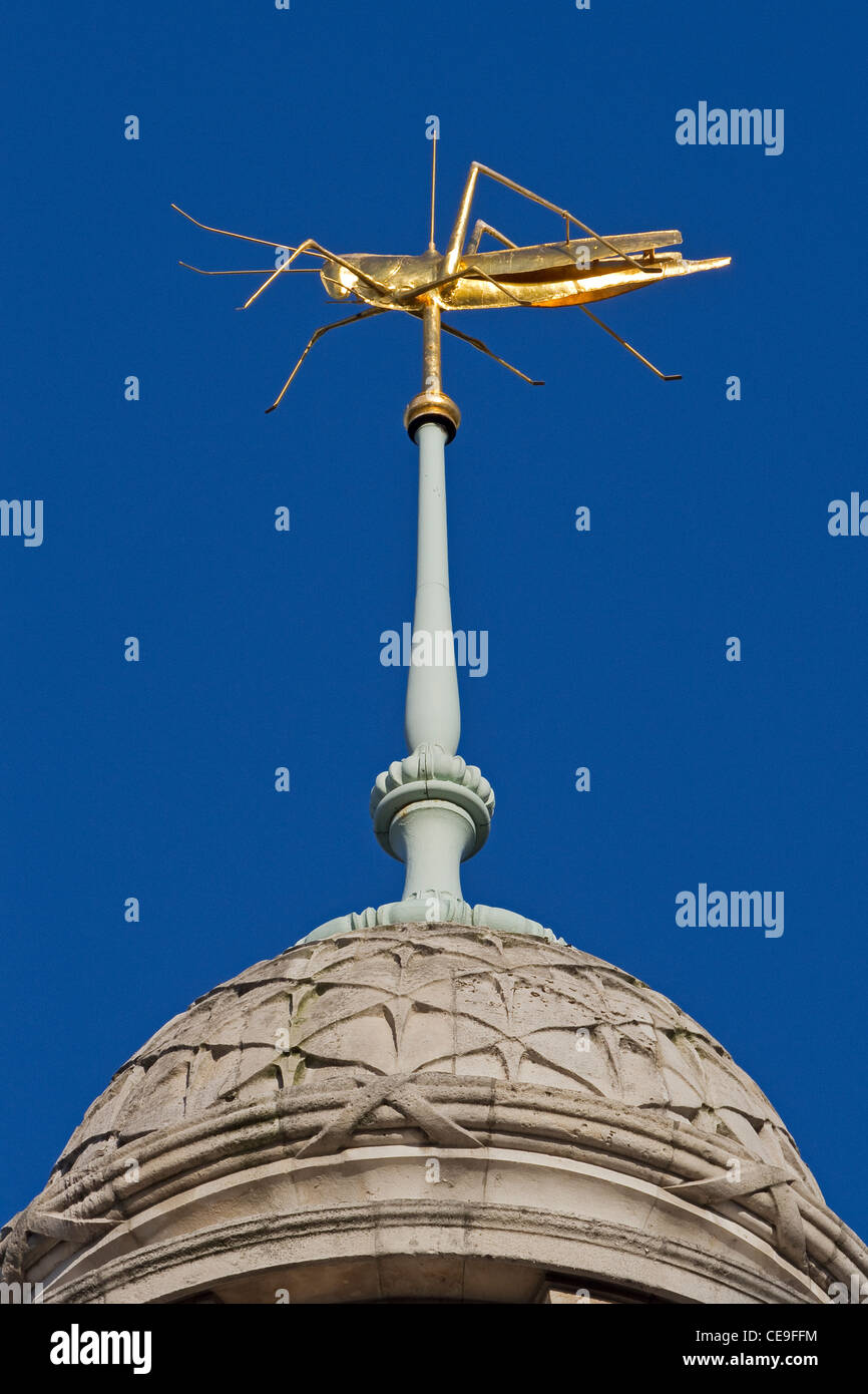 City of London The grasshopper weather vane on the Royal Exchange January 2012 - Stock Image