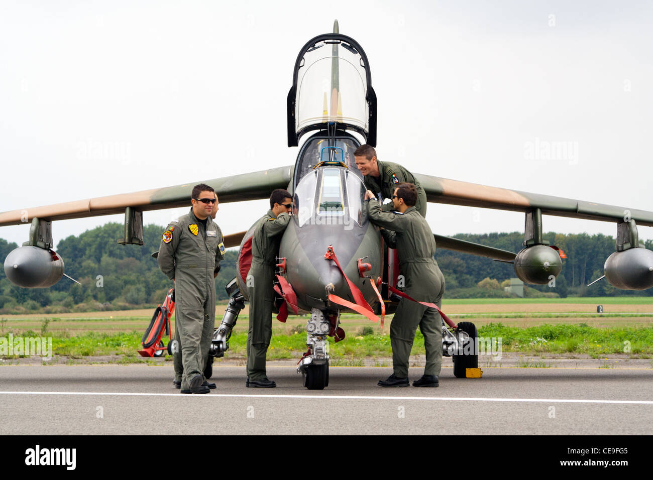 Portuguese military personnel and their Alpha Jet trainer plane Stock Photo