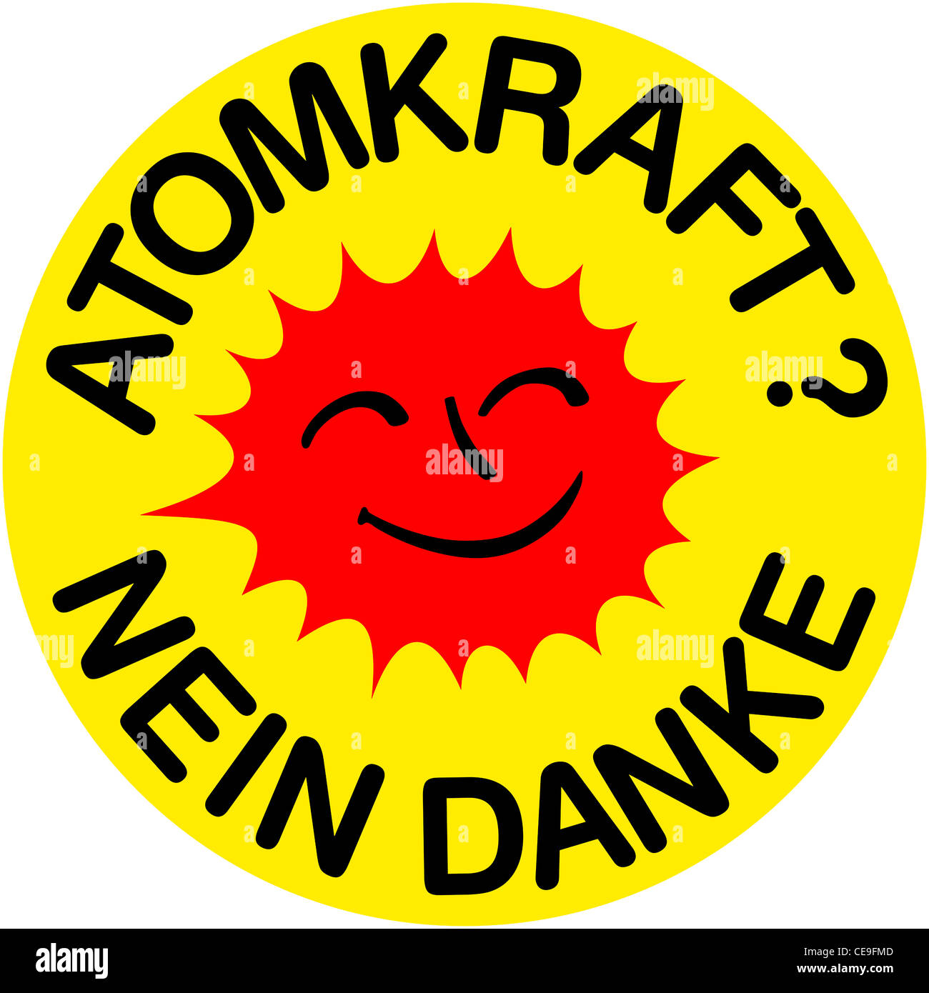 Logo of the anti nuclear energy movement against the civilian use of the nuclear energy. - Stock Image