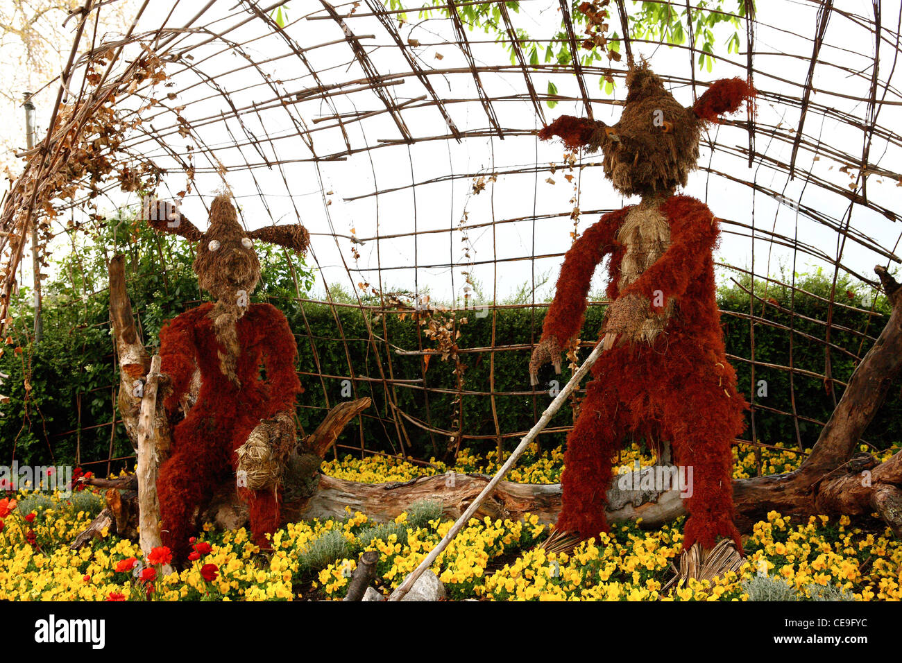 Creatures made from dried plants - decoration on green squares of the city of Montreux. - Stock Image