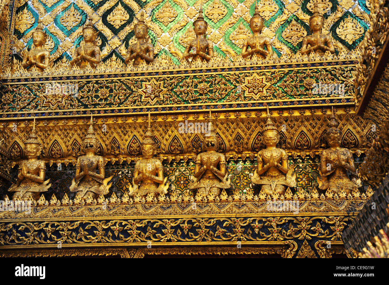Guilded temple details, Grand Palace, Bangkok, Thailand - Stock Image